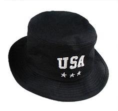 0badb142512 Black Unisex Fancy USA Letter Print Cool Fashion Cotton Bucket Hat Cap