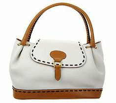 Dooney & Bourke Florentine Leather Flap Satchel (White) | QVC Price: $358.00