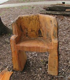 A felled tree remains in the garden as a carved chair. All photos by Steve Houser except where noted.