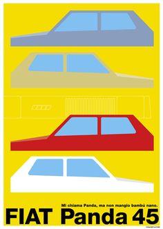 Original Poster Graphic / Fiat Panda 45 Fiat Panda, Panda Panda, Fiat Cars, Car Illustration, Car Advertising, Fiat 500, Old Cars, Motor Car, Pandas