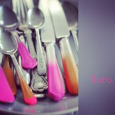 Photo by decor8 / #fluro #flatware by Sonia Pell