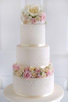 beautiful wedding cakes elegant satin ribbon paste roses morningside bakes