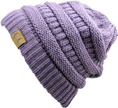 NYFASHION101 - SOFT STRETCH - CABLE KNIT - SLOUCHY BEANIE / HAT -- VIOLET