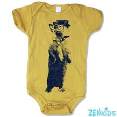 Baby Onesie OTTER (in a Fedora) -  american apparel - Organic (3 Color Options)  - FREE Shipping