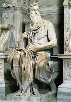 MICHELANGELO: Moses - another view. I still can't believe this is marble. This links to awesome Michelangelo paintings and sculptures. Italian Renaissance Art, Renaissance Kunst, Giorgio Vasari, Caravaggio, Michelangelo Sculpture, Michelangelo Paintings, Statues, Carpeaux, Italian Sculptors