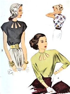 1940s DRAMATIC Film Noir Style Blouse Pattern McCALL 6770 Eye Catching Cut Out Neckline, Daytime or Evening Bust 30 Vintage Sewing Pattern