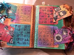 Two of the inside pages of my altered book. Stef
