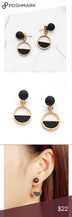 Minimalist double sided earrings Gold and matte black double sided drop earrings. Dainty, modern & minimal. No trades but offers accepted. pixiepencils Jewelry Earrings