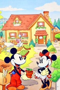 Mickey Mouse, Minnie Mouse, Pluto, and Daisy Duck at their Home. Disney Mickey Mouse, Walt Disney, Minnie Mouse, Natal Do Mickey Mouse, Gifs Disney, Retro Disney, Mickey Mouse E Amigos, Images Disney, Mickey Mouse Cartoon
