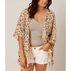 Angie Floral Cardigan - Cream Large ($24) ❤ liked on Polyvore featuring tops, cardigans, cream, cream kimono, floral print cardigan, cream cardigan, cream kimono cardigan and floral kimono cardigan