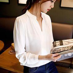 Women's+Solid+White+Shirt+,+V+Neck+Long+Sleeve+–+USD+$+12.99