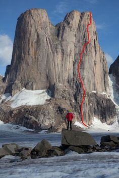 Mt,Asgard, Baffin island.  Do you fancy a bivy here?  The red line shows the route you would take it you were rock climbing...Thanks, but no thanks.