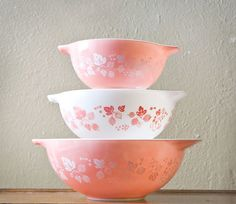 1960s Pink Gooseberry Pyrex Mixing Bowls ~ The Two Sparrows