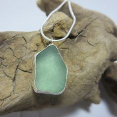 Seafoam Sea Glass Bezel Set Necklace by SilverandSeaJewelry