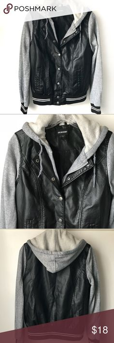 "Joe Boxer Jacket with Hoodie size S A really cool and casual look. Pre-loved and in good shape. All poly, two from pockets, lining in good shape.  Shoulder to hem: 23"", outer sleeve: 26"", pit to pit: 19""  Shop smart by maximizing your shipping $. Use the filter function and peruse my closet of over 1,000 items! Bundle and save!! Joe Boxer Jackets & Coats Utility Jackets"