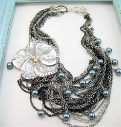 Silver Flower Necklace Statement Jewelry