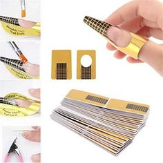 Buedvo 100Pcs Nail Art Tips Extension Forms Guide Gold DIY Tool Acrylic UV Gel *** Read more reviews of the product by visiting the link on the image. (This is an affiliate link and I receive a commission for the sales)