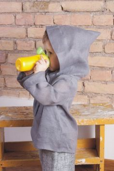 Natural linen hoodie by adatine on Etsy