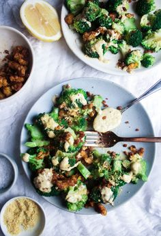 """Broccoli Caesar with Smoky Tempeh Bits From """"The First Mess Cookbook"""" - Earth & Oven"""