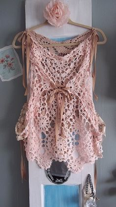 altered crocheted tablecloth  ~ created into a top