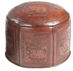 Large Moose Lodge Tooled Leather Ottoman - I could see this in the adirondack style home or those rooms inspired by Ralph Lauren Leather Ottoman, Tooled Leather, Leather Tooling, Leather Furniture, Custom Furniture, Furniture Design, Moose Lodge, Black Forest Decor, Old Hickory