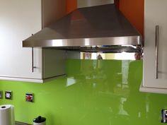 Lime Green coloured kitchen splashback