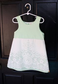 Vintage lace over mint cotton little girl dress by RosieAndPepe, $42.00