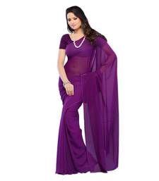 Buy purple plain georgette saree with blouse georgette-saree online