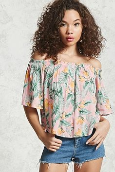 ¡Cómpralo ya!. Contemporary Off-the-Shoulder Top. details   Forever 21 Contemporary - A woven top featuring an off the-shoulder-neckline, floral print, a mock button front,  3/4 sleeves, and a curved hem.  Content + Care   - 100% rayon- Dry clean- Made in Vietnam  Size + Fit  - Model is 5'8%22 and wearing a Small- Full length: 16 %22- Chest: 37%22- Waist: 22.5%22- Sleeve length: 11%22 , tophombrosdescubiertos, sinhombros, offshoulders, offtheshoulder, coldshoulder, off-the-shouldertop…