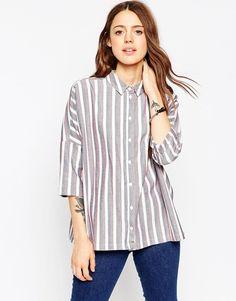 Изображение 1 из Oversize-рубашка на каждый день с принтом в полоску ASOS