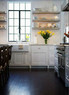 marble, floating shelves, farmhouse, sink, white, kitchen cabinets, marble, slab, countertops, backsplash, espresso, wood floors,