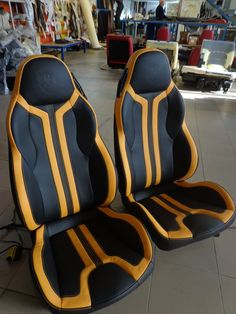 yellow and black car interior seats custom Car Interior Sketch, Custom Car Interior, Car Interior Design, Automotive Design, Automotive Detailing, Car Seat Upholstery, Car Interior Upholstery, Automotive Upholstery, Automotive Furniture