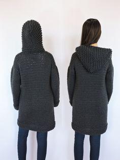 Merino wool cardigan Hand knit black sweater Hooded cardigan ...