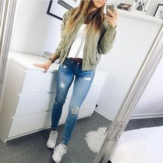 Outfits w/ an army green jacket (requested)