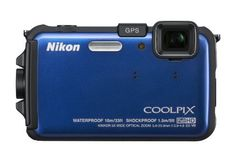 """Nikon COOLPIX AW100 16 MP CMOS Waterproof Digital Camera with GPS and Full HD 1080p Video (Blue) by Nikon. $279.95. From the Manufacturer                     You live to be """"in the moment,"""" so anything that brings back the rush is worth it. The Nikon COOLPIX AW100 is water-proof, shock-proof and freeze-proof, so you can take it on all of your extreme adventures. It packs a 5x Zoom-NIKKOR ED glass lens and a 16.0-MP CMOS sensor to record low-light and fast-ac..."""