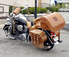 Handmade leather trunk mounted on Keith's Indian Vintage with Indian Tan leather | Osprey Limited | Handcrafted Saddlebags & Leather Products