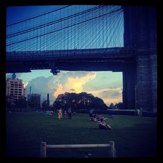 Under the Brooklyn Bridge.
