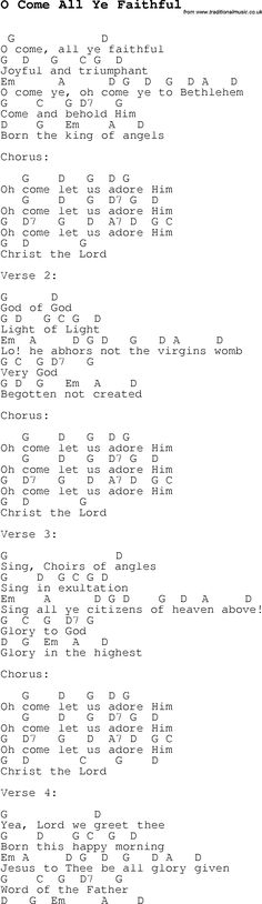 Christmas Songs and Carols, lyrics with chords for guitar banjo for O Come All Ye Faithful