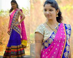 Half Saree with Crystal Flowers | Saree Blouse Patterns