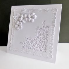 wilson wedding card ~ Lace Corner by sistersandie - Cards and Paper Crafts at Splitcoaststampers Wedding Cards Handmade, Handmade Birthday Cards, Tattered Lace Cards, Spellbinders Cards, Engagement Cards, Card Making Techniques, Sympathy Cards, Paper Cards, Flower Cards