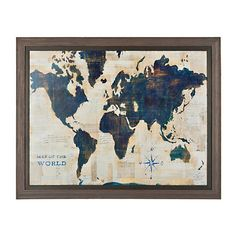 Uttermost mirrored world map with wall art 30400 uttermost blue and cream world map framed art print gumiabroncs Images