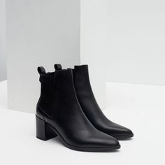 Image 3 of HIGH HEEL LEATHER ANKLE BOOTS WITH STRETCH DETAIL from Zara