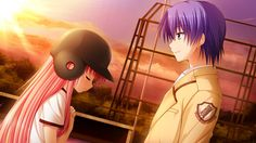 - Hideki Hinata (日向秀樹) x Yui (ゆい) - a scene from the new visual novel 'Angel Beats! Anime Couples Manga, Cute Anime Couples, Manga Anime, Anime Art, Manga Girl, Anime Girls, Vocaloid, Hinata, Beats Wallpaper