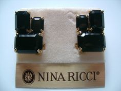 Stunning NINA RICCI Gold Plated With Emerald Cut Black Faux Onyx Colored Cabochon Glass Burlesque Clip Earrings Beautiful Pristine Condition