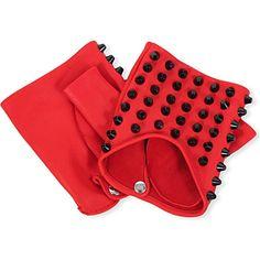 Fingerless stud-detail leather gloves (Red