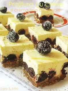 Prajitura cu cirese si crema fina de lamaied Torta con ciliegie e crema di limone