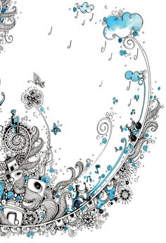 Saptarang by Pooja Bhapkar, via Behance I love the idea of a zentangle that rains music down from the clouds. Doodles Zentangles, Tangle Doodle, Doodle Patterns, Zentangle Patterns, Doodle Drawings, Doodle Art, Illustrations, Illustration Art, Zantangle Art