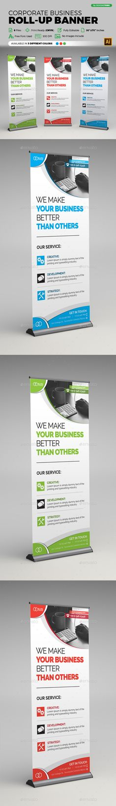 Corporate Business Roll-Up Banner Design Template - Signage Print Template Vector EPS, AI Illustrator, Download here: http://graphicriver.net/item/corporate-business-rollup-banner/16894764?s_rank=15&ref=yinkira