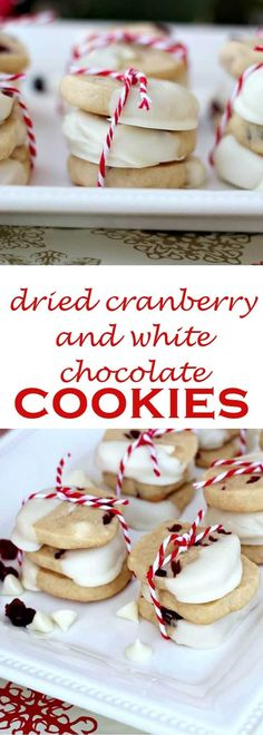 Slice and bake cookies are perfect for holiday baking. Make these dried cranberry and white chocolate ginger cookies for your cookie exchange or to have the dough ready to bake when company drops by. Best Cookie Recipes, Sweet Recipes, Holiday Recipes, Christmas Recipes, Christmas Deserts, Best Christmas Cookies, White Chocolate Cookies, Salted Chocolate, Easy No Bake Desserts