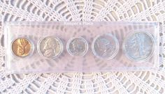 Set Of 1944 - S Walking Liberty Silver Coin Collection 5 Pieces Post WWII